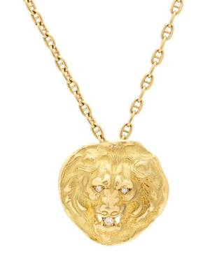 An 18 Karat Yellow Gold and Diamond Lion Motif Pendant France