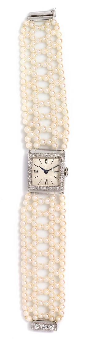 A 14 Karat White Gold Cultured Pearl and Diamond Wristwatch IWC Circa 1954