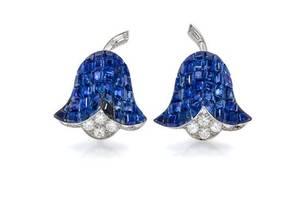 A Pair of Platinum Diamond and Mystery Set Sapphire Campanule Earclips Van Cleef  Arpels
