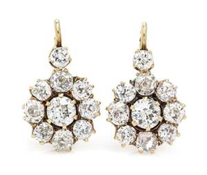 A Pair of Edwardian Yellow Gold and Diamond Pendant Earrings