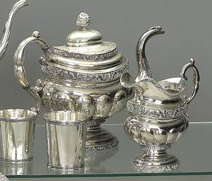 American coin silver tea service ca 1820
