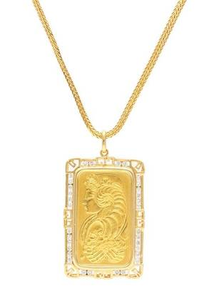 An 18 Karat Yellow Gold and Diamond Pendant