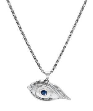 An 18 Karat White Gold and Sapphire Evil Eye Pendant