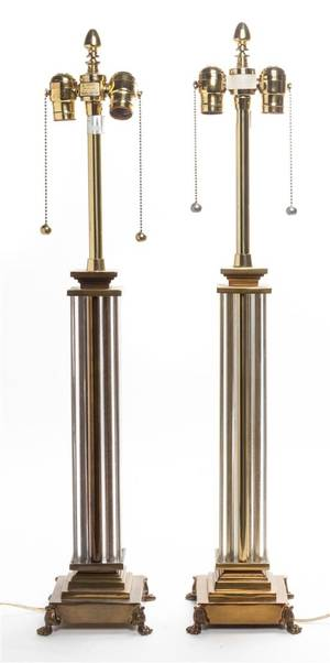 A Pair of Glass and Brass Table Lamps Marbro Lamp Co