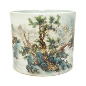 A Polychrome Enameled Porcelain Brush Pot