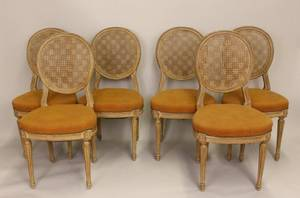 Set of Six French Caned Side Chairs