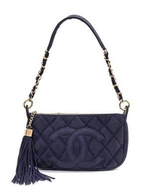 A Chanel Blue Suede Quilted Shoulder Bag