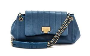 A Chanel Blue Calfskin Leather Accordian Flap Handbag