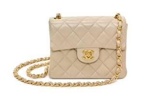A Chanel Cream Calfskin Leather Small Flap Handbag