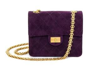 A Chanel Purple Suede Quilted Small Flap Handbag