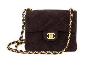 A Chanel Brown Suede Quilted Mini Flap Bag