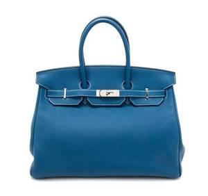 An Hermes Bleu Galice Togo 35cm Birkin Handbag