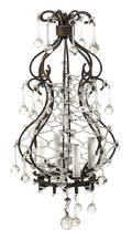 A Continental Gilt Metal Cage Form FourLight Chandelier