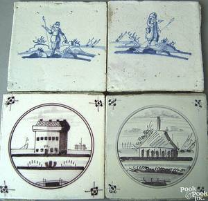 Four Dutch Delft tiles 18th c