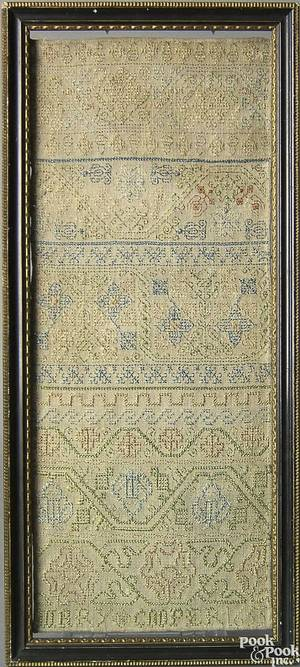 Rare early English silk on linen band sampler dated 1655