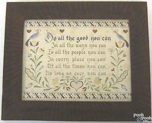Three reproduction fraktur drawings in painted frames by Sallie Greene Bunce