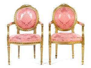 A Pair of Louis XVI Style Giltwood Fauteuil