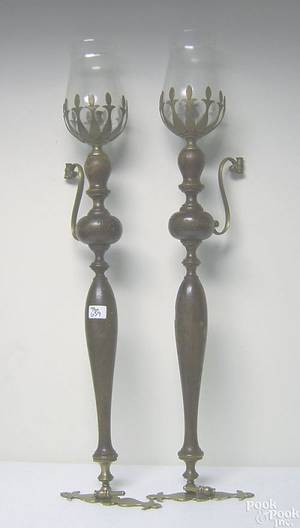 Pair of French carved wood and brass wall sconces