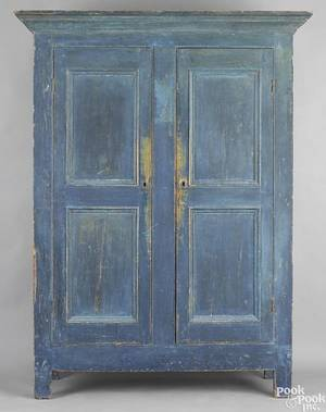 New England painted pine wall cupboard ca 1820