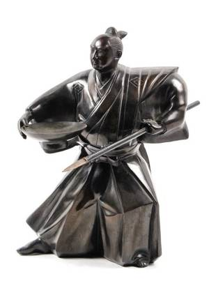20th C Japanese Patinated Bronze Samurai Sculpture