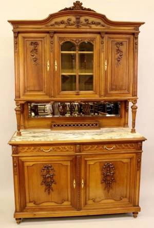 Large French Fruitwood  Marble Cabinet