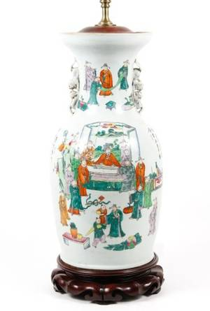 19th C Chinese Famille Rose Vase Lamp
