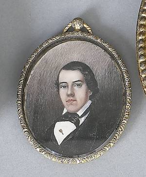 American oil on ivory oval portrait of a young man mid 19th c