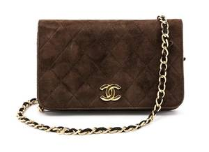 A Chanel Brown Suede Quilted Clutch
