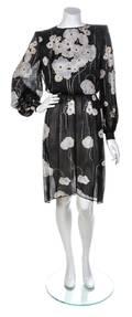 A Valentino Black Sheer Floral Dress