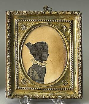 Oval pen ink and linen hollow cut silhouette early 19th c