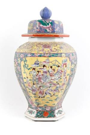 Chinese Famille Rose Hexagonal Lidded Temple Jar