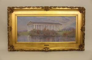 American Oil on Canvas Painting of the Parthenon