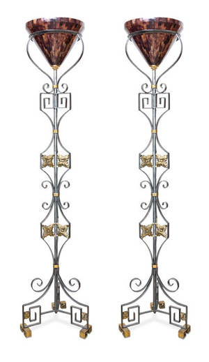 A Pair of Wrought Metal and Brass Torcheres