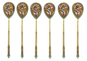 A Set of Six Russian SilverGilt and Enamel Spoons