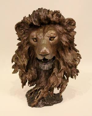 Bronze Lions Head Sculpture by Mark Hopkins