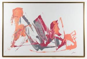 Abstraction Orange and Magenta Signed Joni