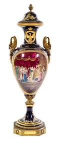 A Large Gilt Bronze Mounted Sevres Porcelain Urn and Cover
