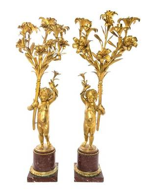 A Pair of Continental Gilt Bronze and Marble ThreeLight Candelabra