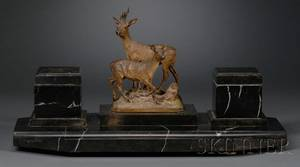 Austrian Cold Painted Bronze Mounted Marble Inkstand