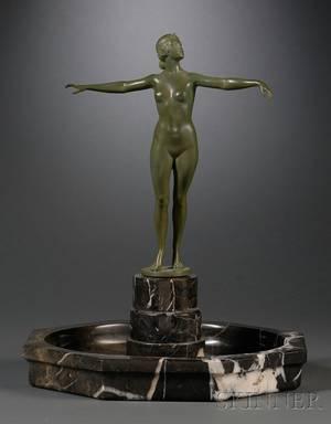 Otto SchmidtHofer German 18731925 Art Deco Bronze and Marble Figural Center Bowl