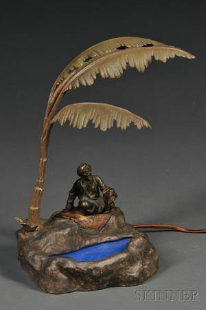 Austrian Cold Painted Bronze and Spelter Figural Arabian Lamp