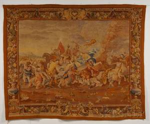 Aubussontype Wool Tapestry Wall Hanging of a Roman Battle