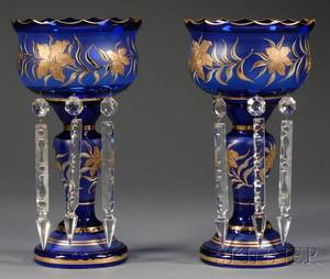 Pair of Victorianstyle Cobalt Blue and Gilt Decorated Glass Mantel Lustres