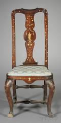 Italian Rococo Ivoryinlaid Walnut Side Chair