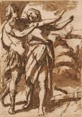 Lot of Four Drawings Italian School 17th Century Style Madonna and Child with St Cecelia