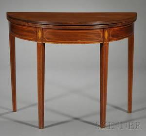 George III Inlaid Mahogany Demilune Game Table