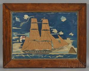 British Sailors Wool Needlework Picture of a Sailing Ship