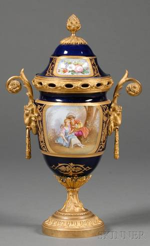 Sevres Style Gilt Bronze Mounted Vase and Cover