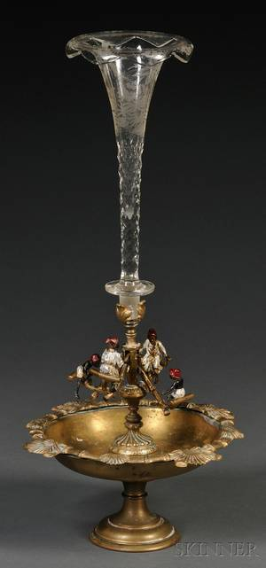 Viennese Bronzemounted Part Coldpainted and Colorless Glass Centerpiece
