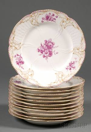 Set of Twelve KPM Porcelain Dinner Plates